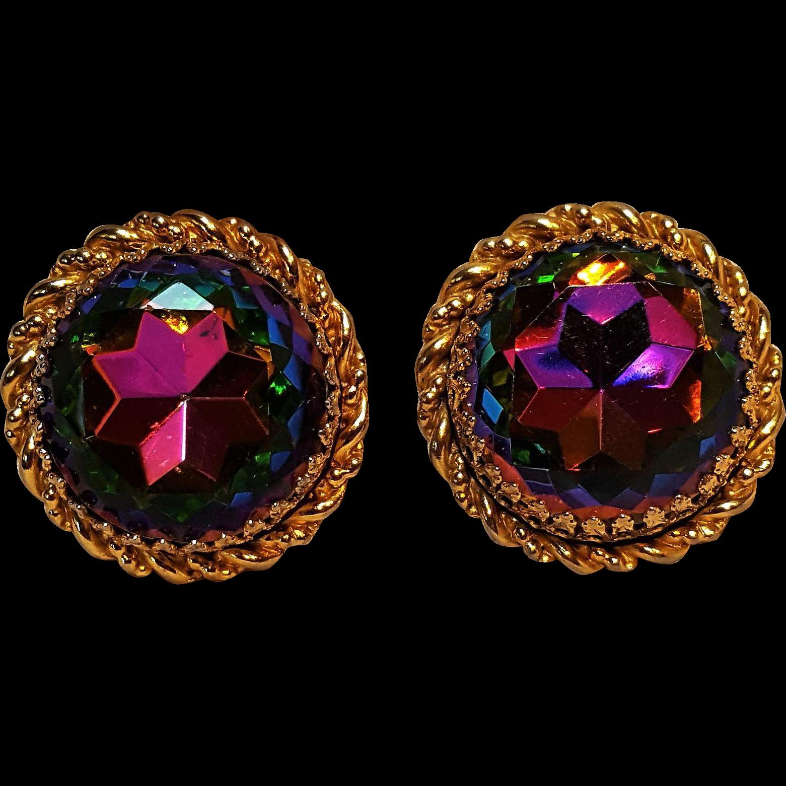 Schiaparelli watermelon rhinestone clip earrings
