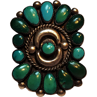 Zuni silver  turquoise  cluster ring crescent