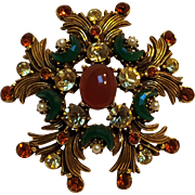 Florenza brooch pin glass crescent stones, cabochons, rhinestones