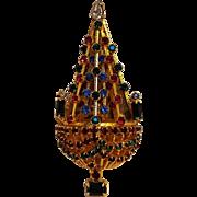 Joseph Warner Christmas tree pin rhinestone openwork