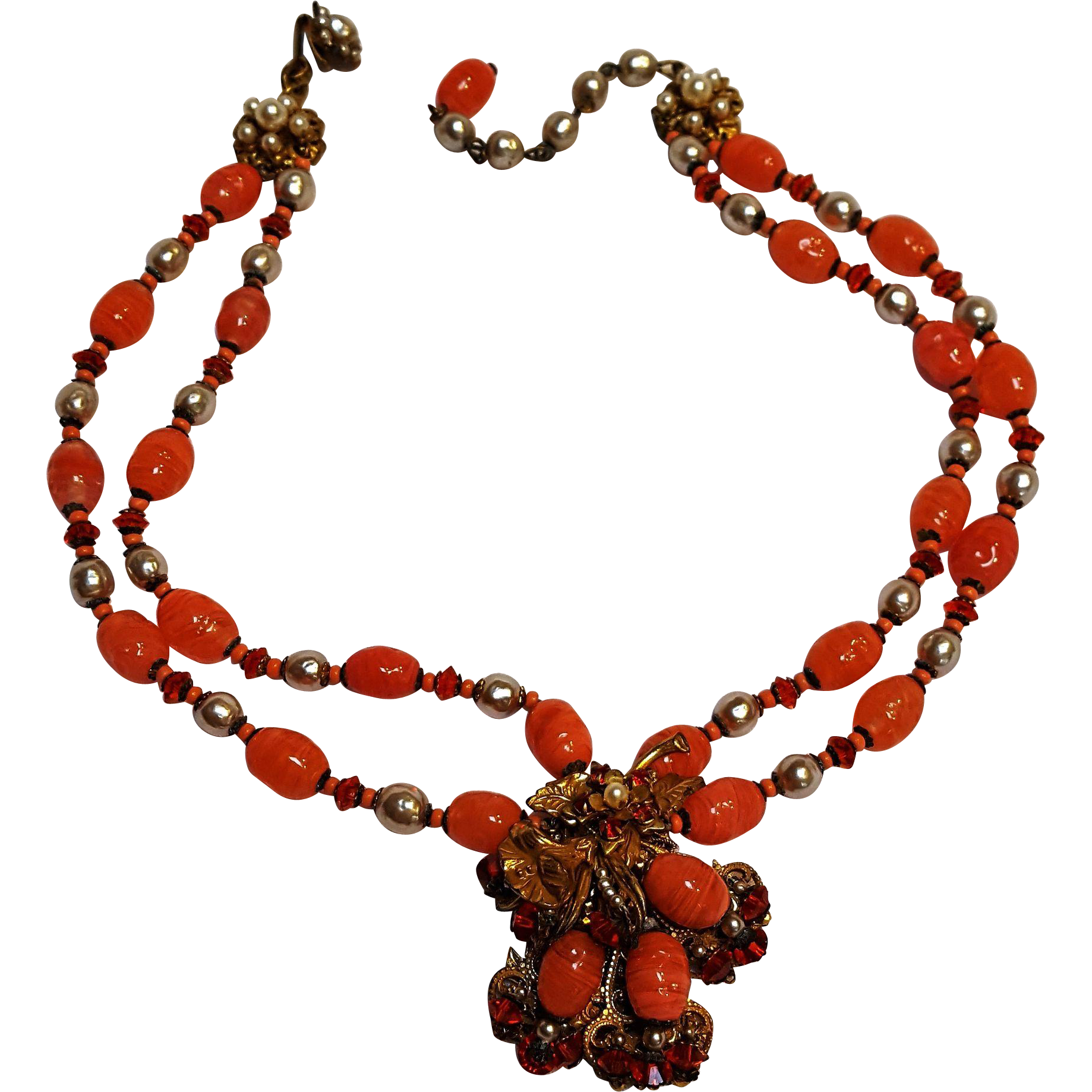 Miriam Haskell necklace simulated baroque pearls orange glass beads two strand