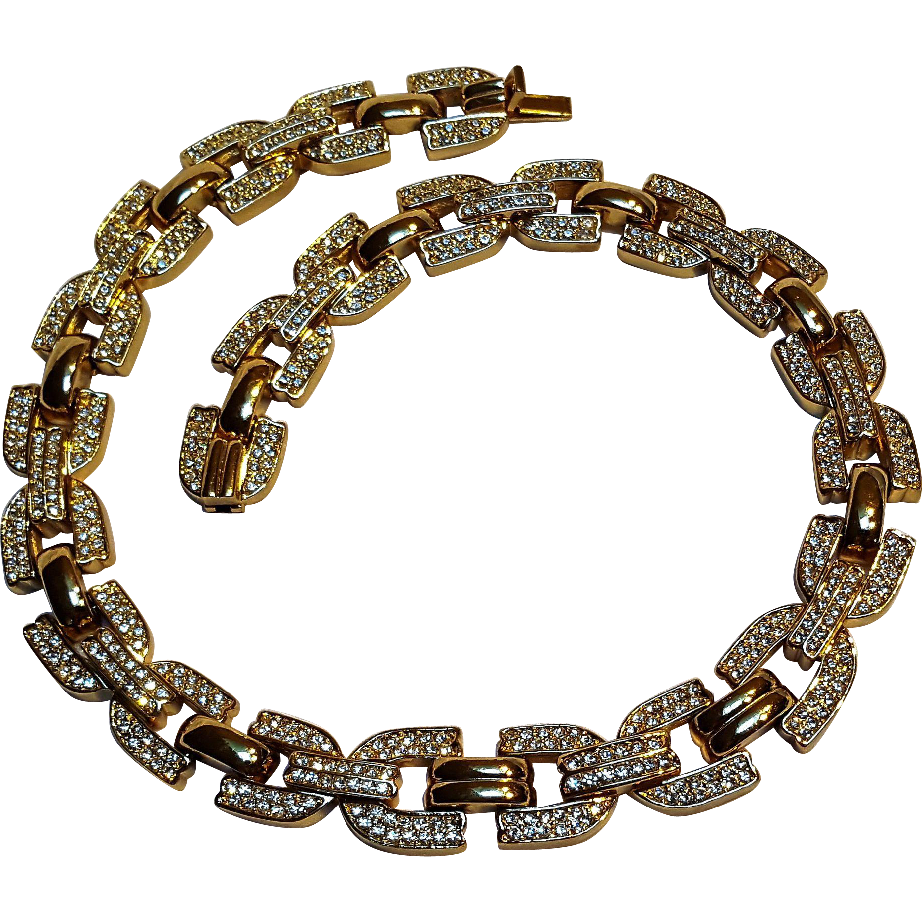 Christian Dior pave rhinestone link necklace