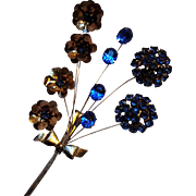 Sterling silver trembler pin bouquet blue rhinestone flowers