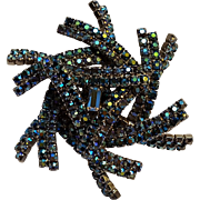 Blue Aurora borealis rhinestone pinwheel design