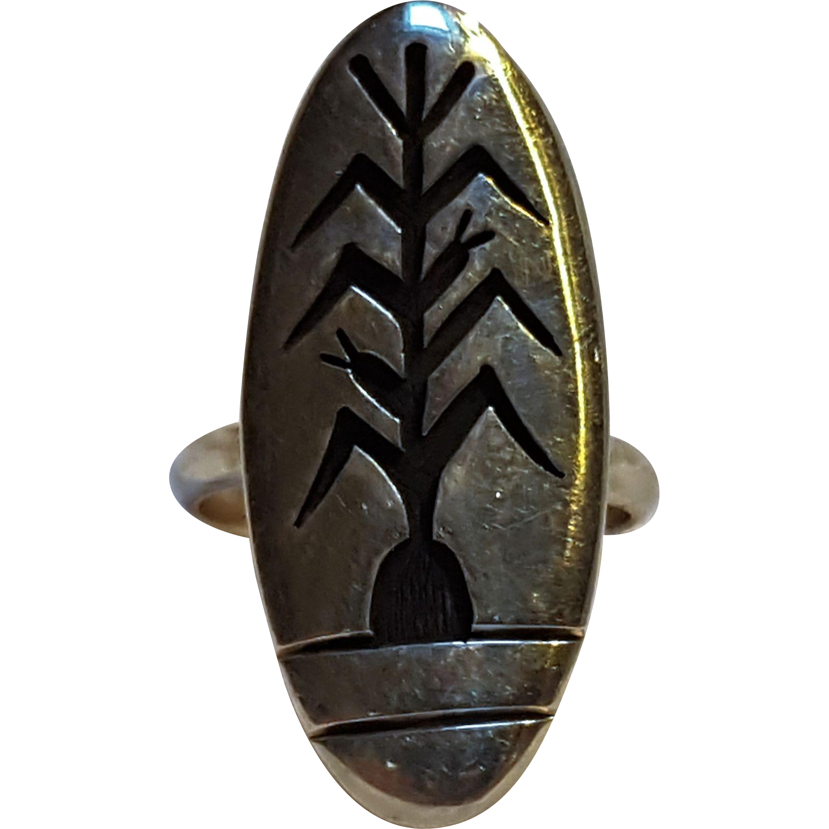 Hopi sterling silver overlay ring cornstalk signed