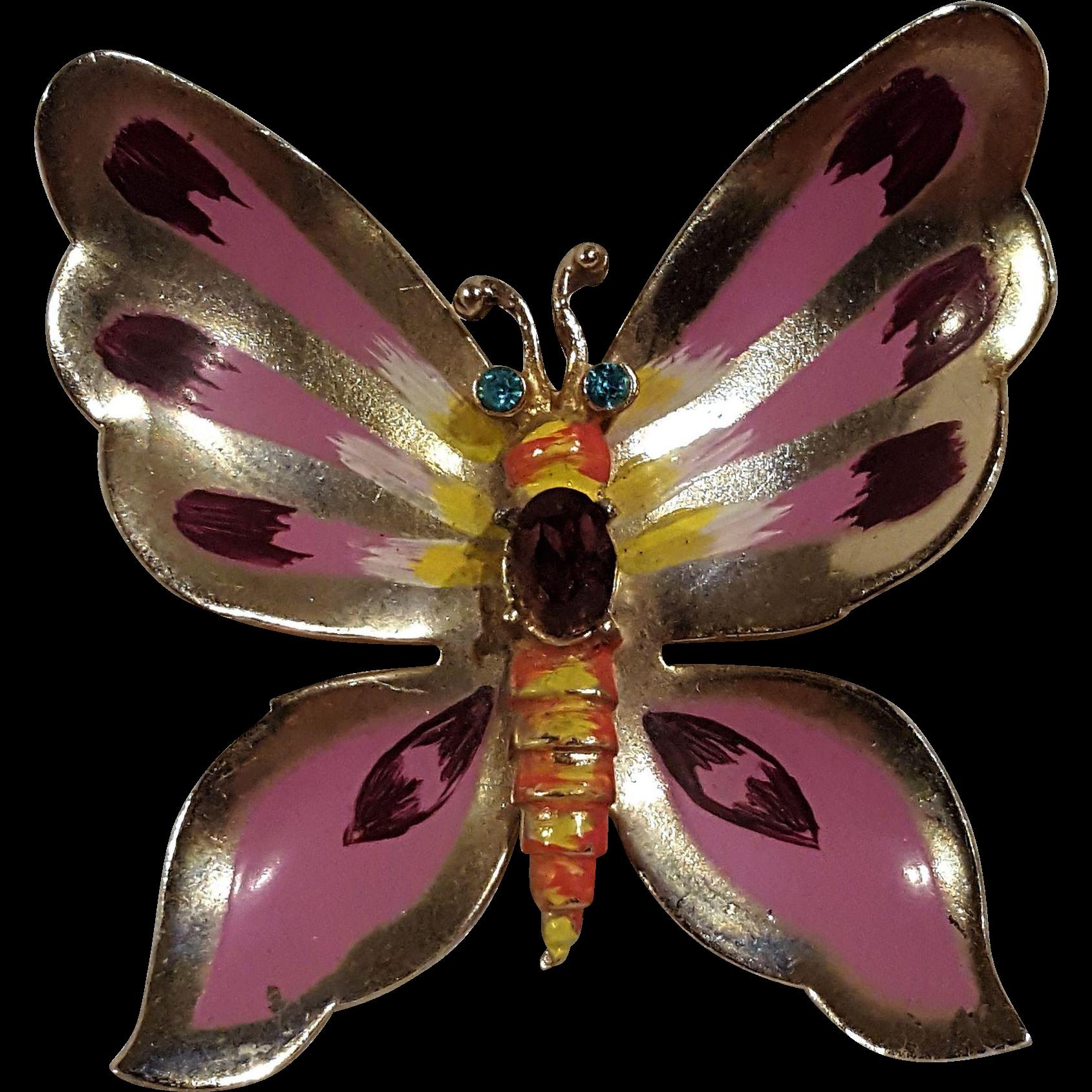 Coro enamel rhinestone butterfly pin