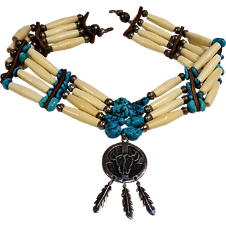 Native American sterling silver turquoise nugget bench and ox bone bead  choker necklace