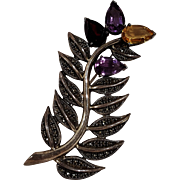 Judith Jack sterling silver marcasite gemstone feather fern pin