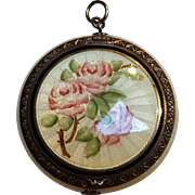 Foster Bailey sterling silver guilloche enamel compact pendant pink roses