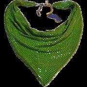 Whiting & Davis shocking lime green enamel mesh bib necklace