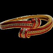 JBK Jackie Kennedy red enamel crystal knot bangle Camrose Kross