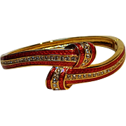 JBK Jackie Kennedy red enamel crystal knot bangle Camrose Kross