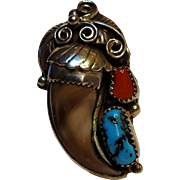 Apachito Navajo sterling silver bear claw turquoise coral ring