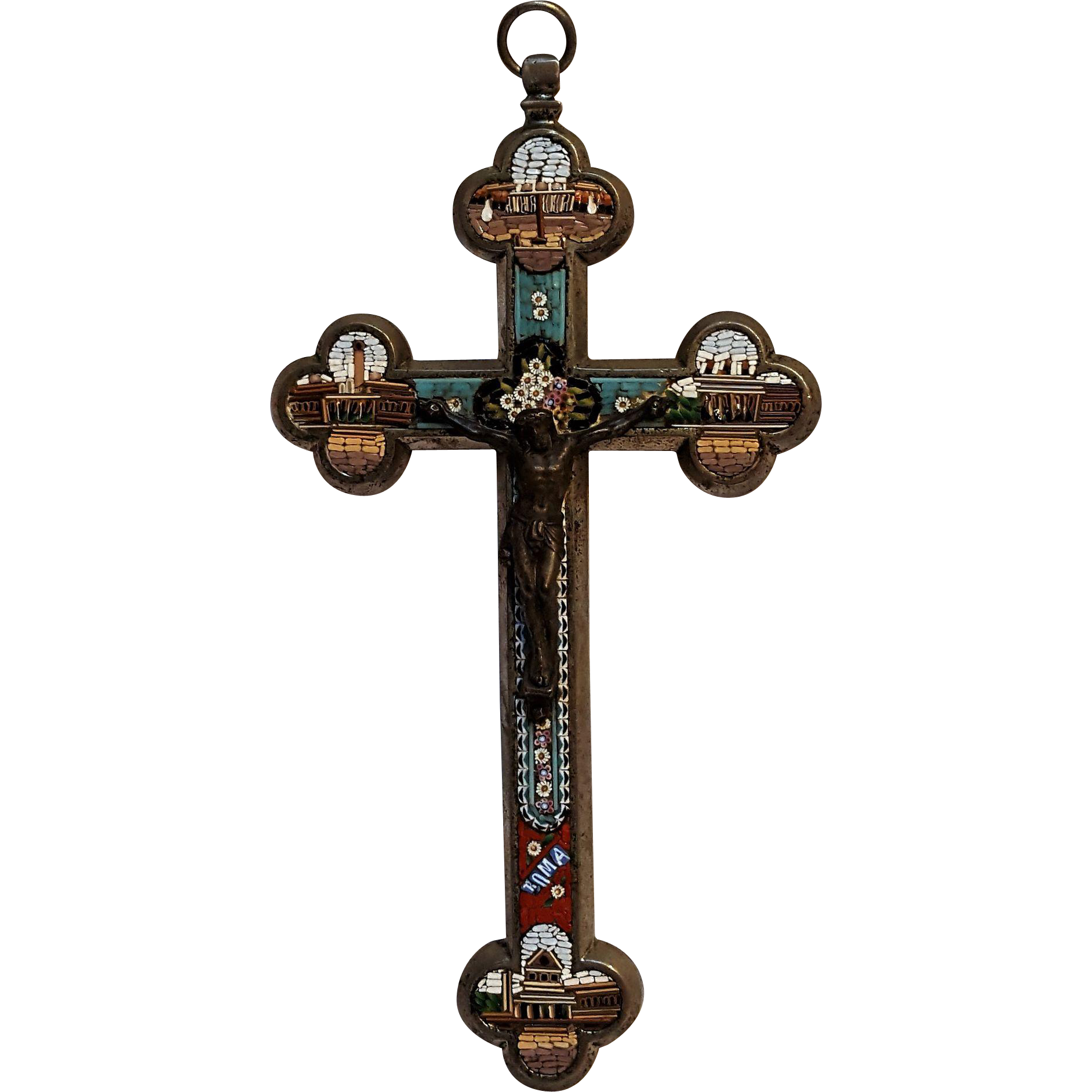 Grand tour architectural  micromosaic crucifix four Roman basilicae