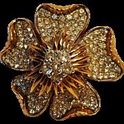 Jomaz pave rhinestone flower pin
