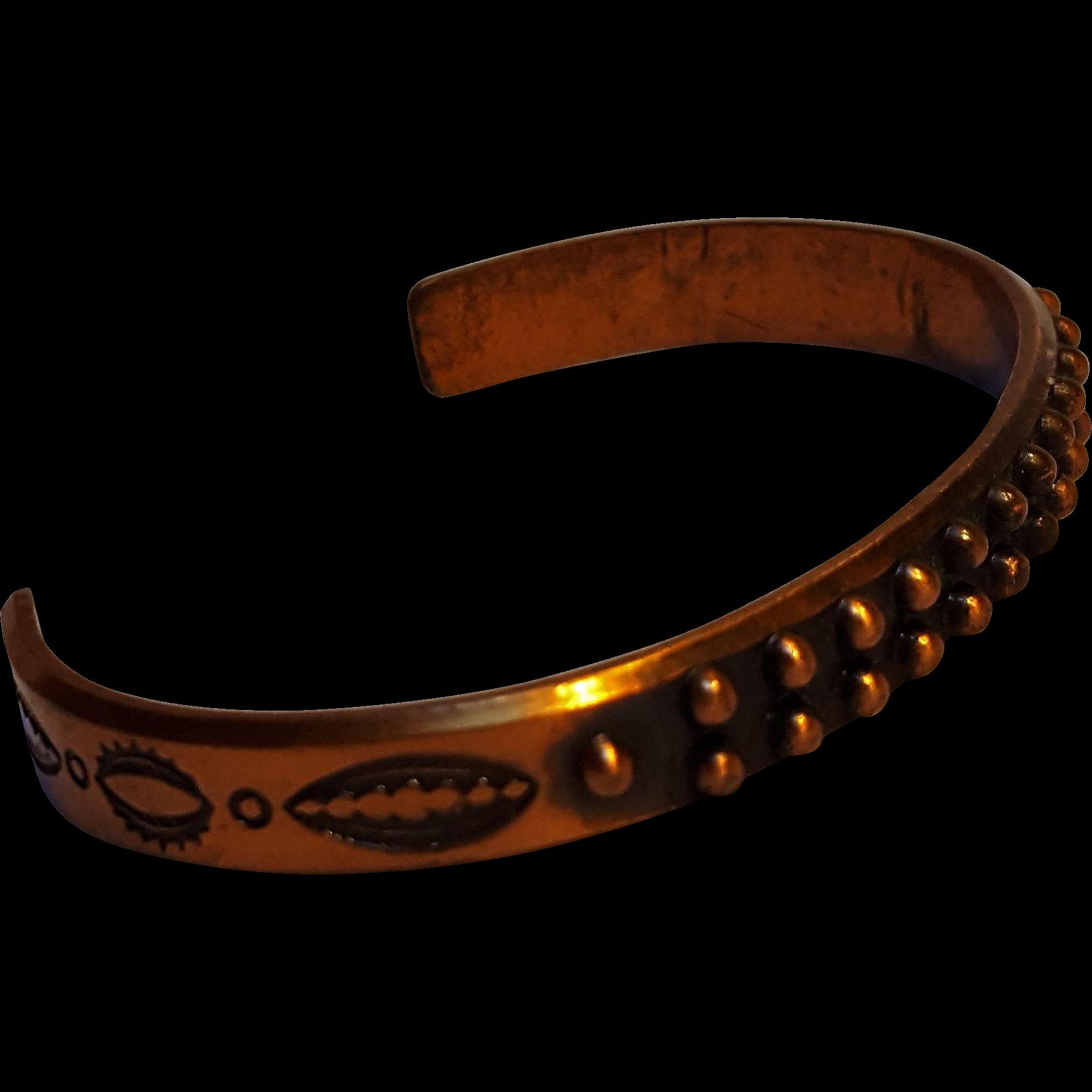 Southwest copper cuff bracelet stamped design
