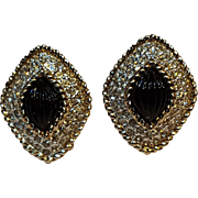 Panetta clip earrings rhinestone scalloped black glass stone