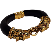Franklin Mint Dutchess of Windsor panther bracelet ebony ruby eyes