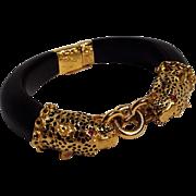 Franklin Mint Dutchess of Windsor panther bracelet ebony ruby eyes