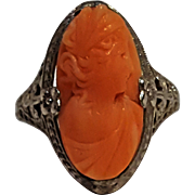 Ostby Barton coral cameo ring Art Deco filigree 10K gold
