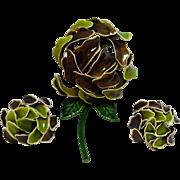 Green enamel flower clip earrings set