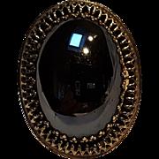 Whiting & Davis hematite glass cabochon stone ring