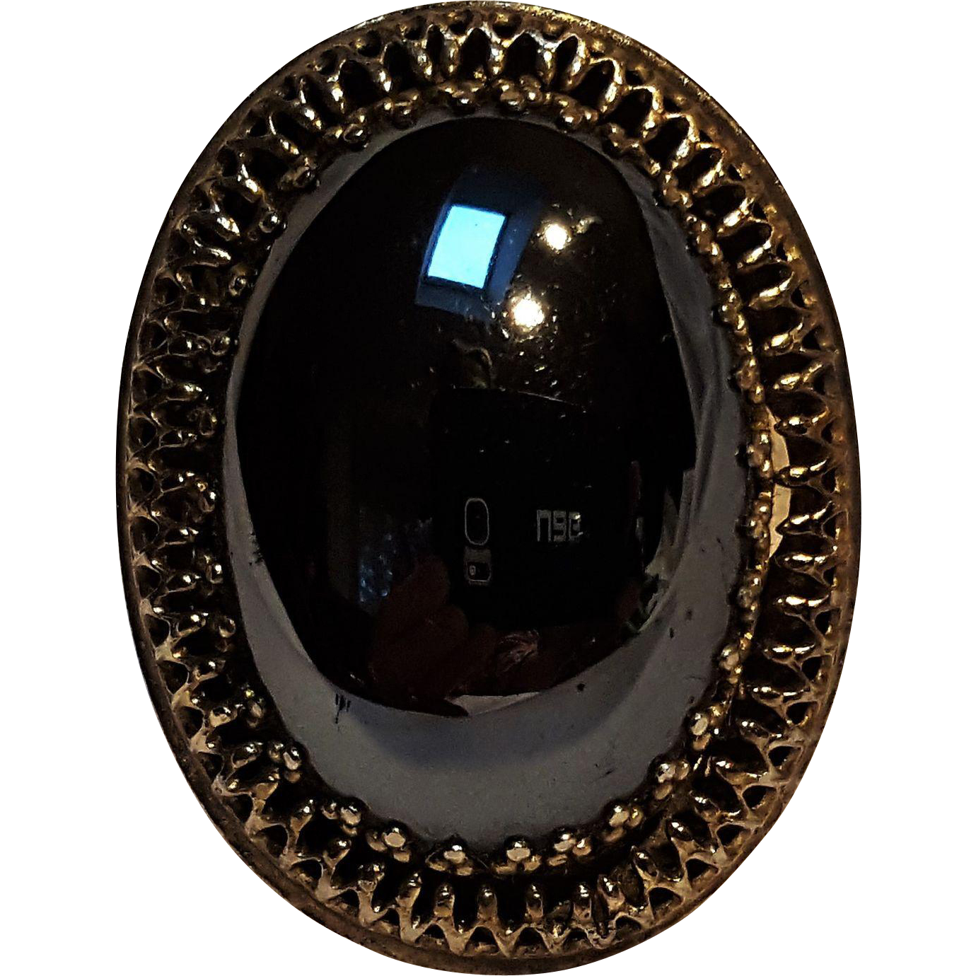 Whiting & Davis hematite glass cabochon stone ring