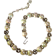 Iridescent lucite and rhinestone bead necklace