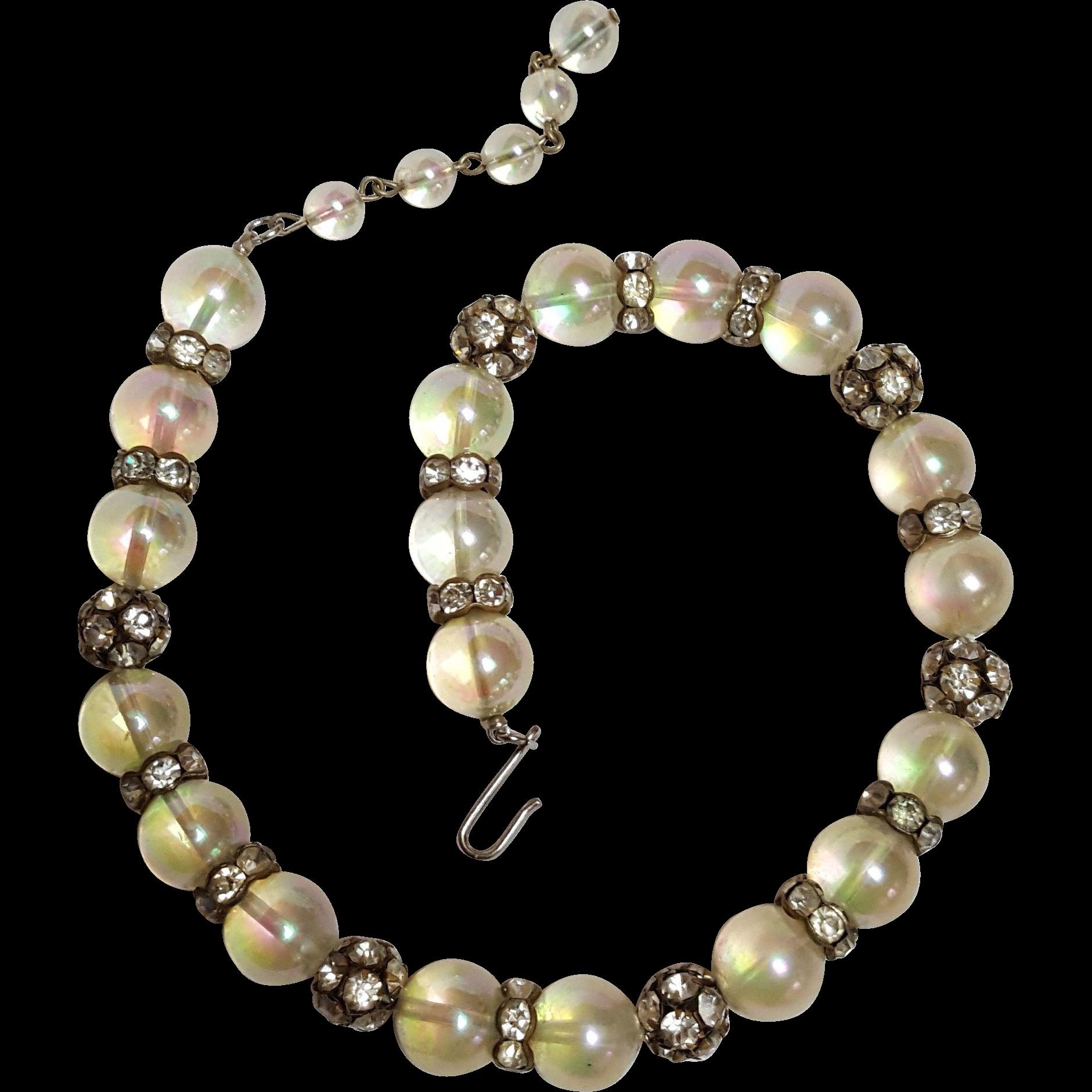 Iridescent lucite and rhinestone bead necklace