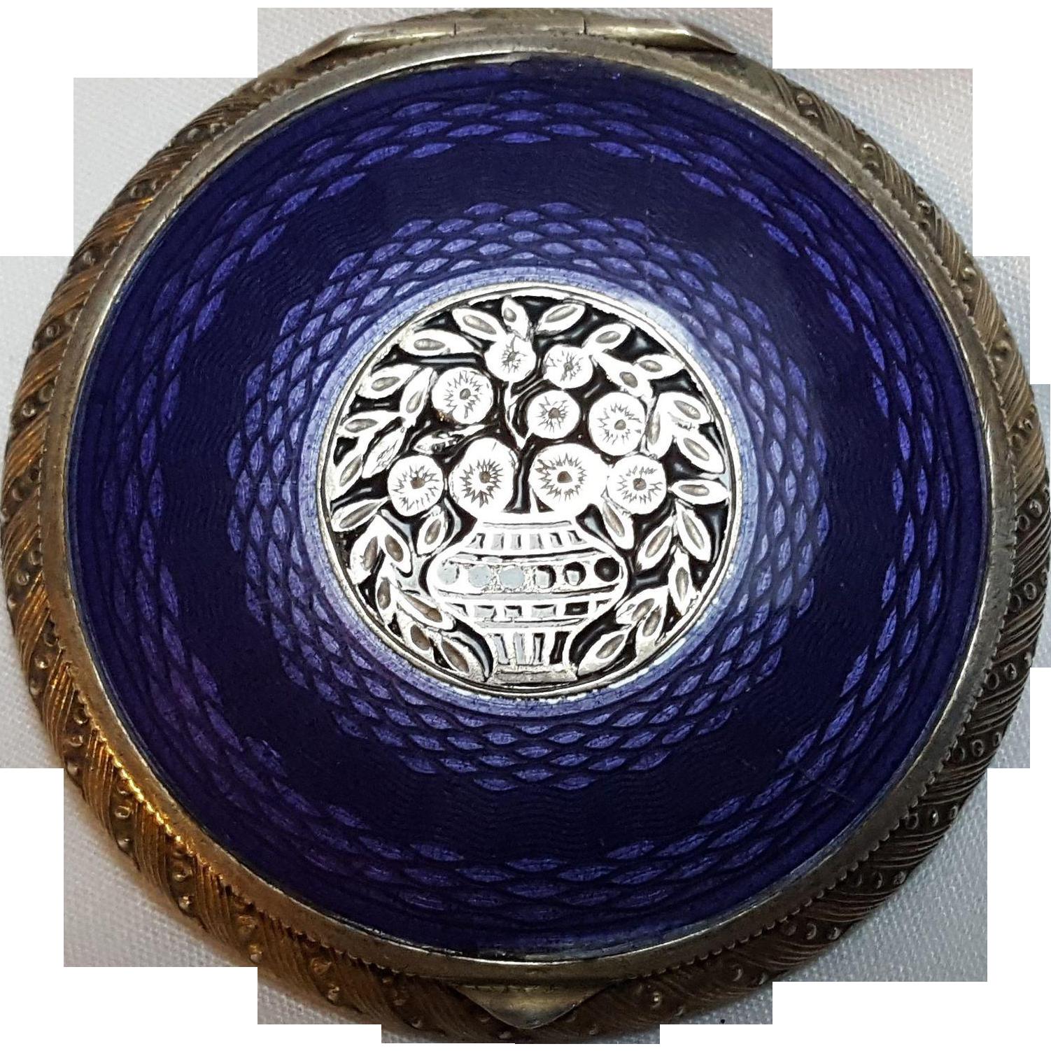 Sterling silver purple guilloche enamel powder compact box  Austria flower basket