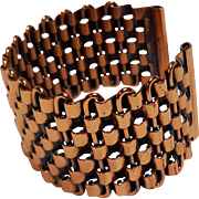 Renoir copper basketweave cuff bracelet
