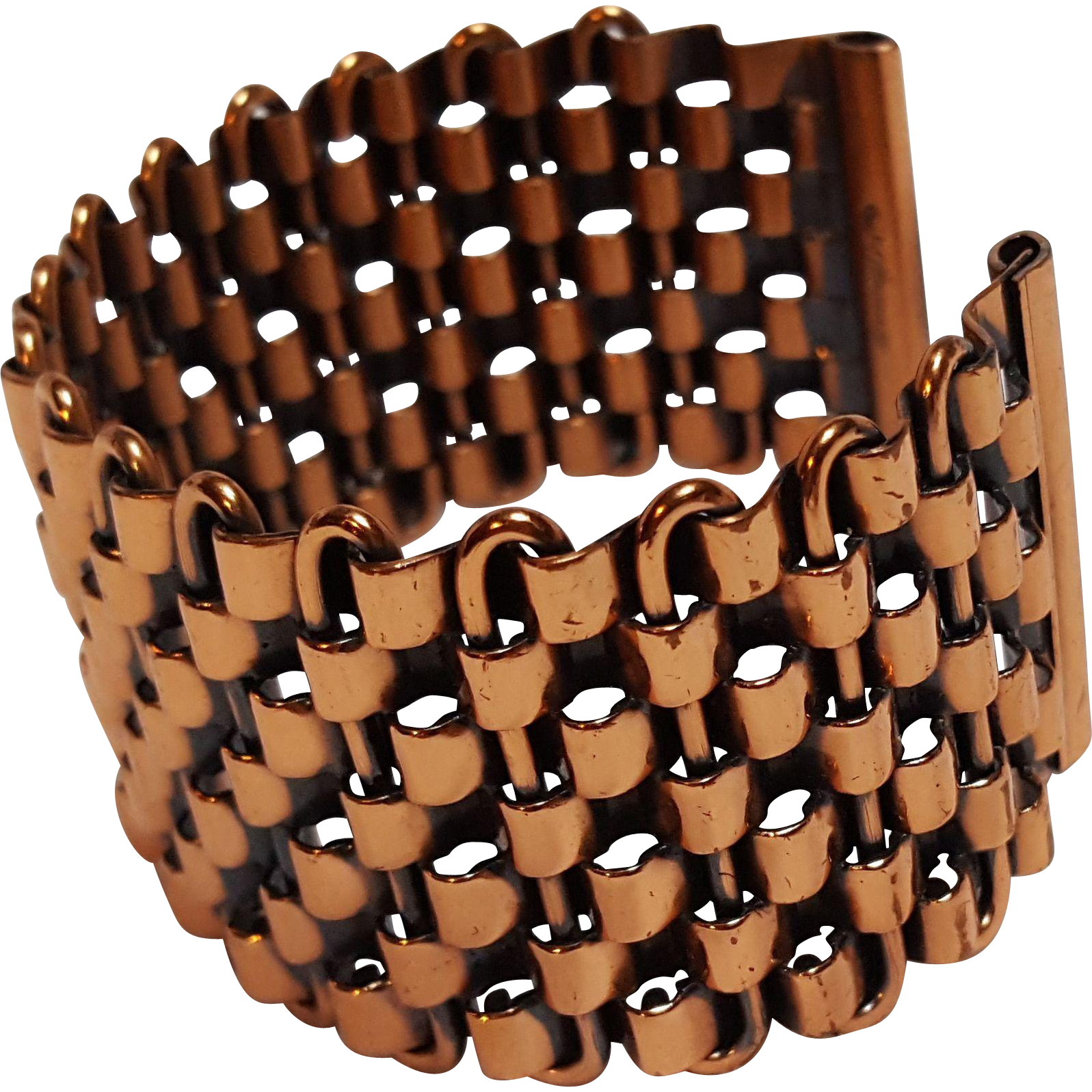 Renoir copper basketweave cuff bracelet