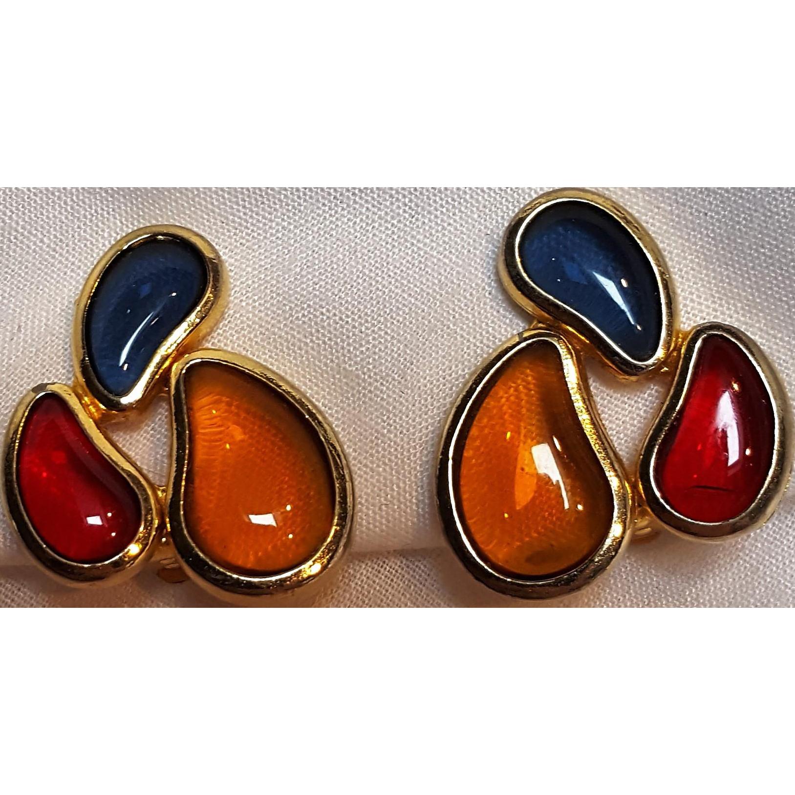Les Bernard clip earrings poured glass stones red blue amber
