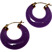 14K Gold lavender jade hoop earrings