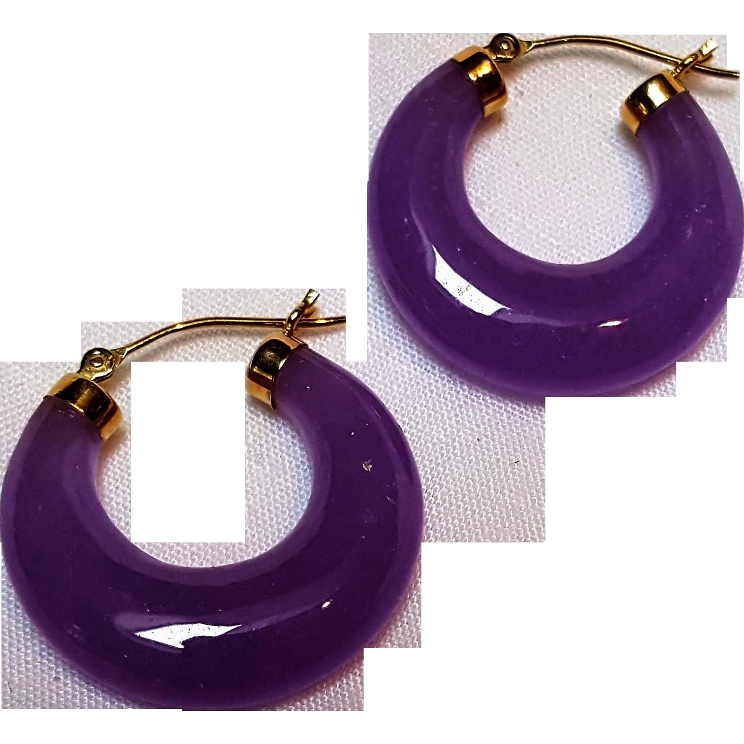 14K Gold lavender jade hoop earrings