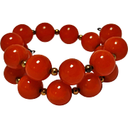 Orange Bakelite memory wire wrap bracelet