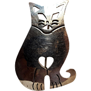 Taxco sterling silver cat pin