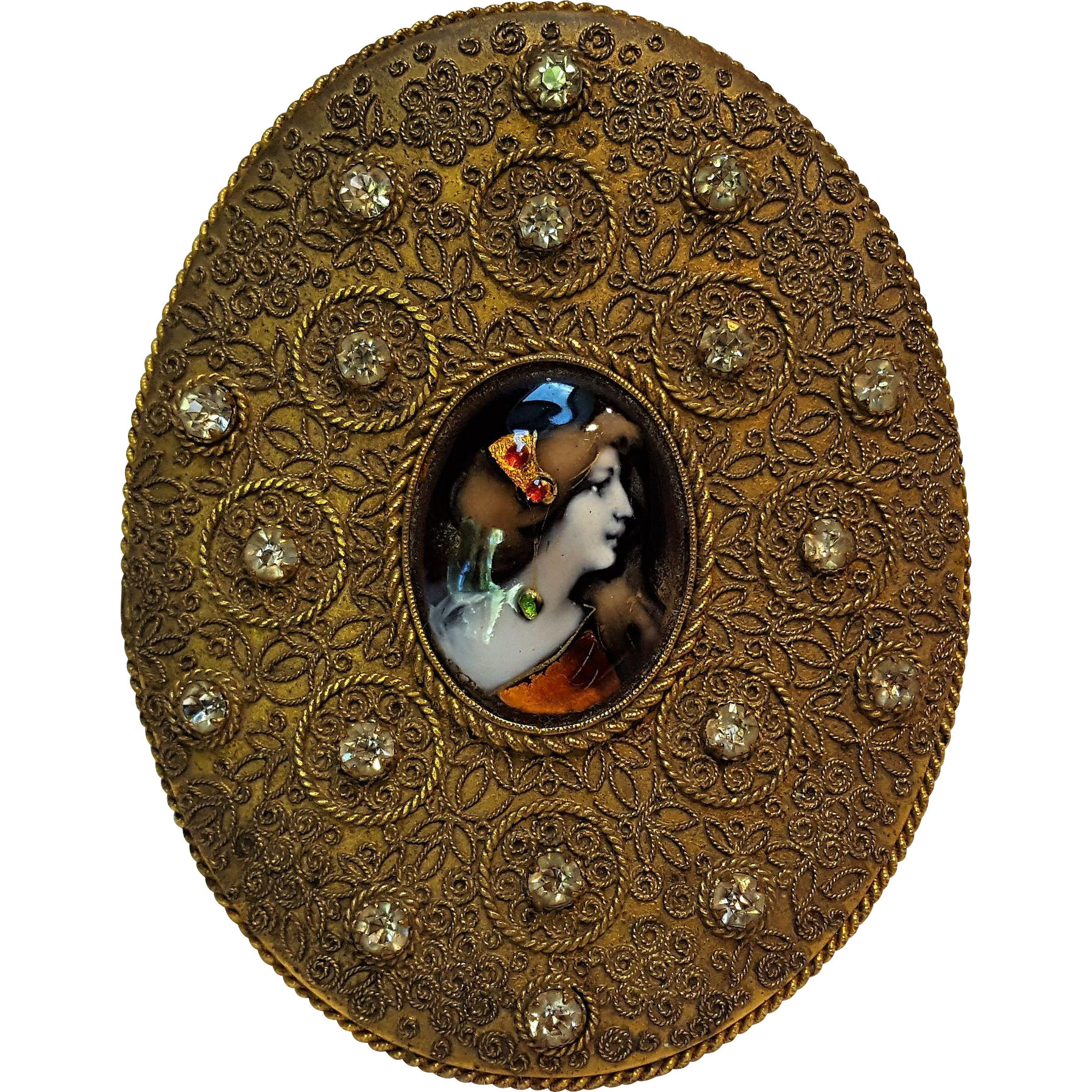 Antique jeweled Limoges enamel portrait buckle gilt brass