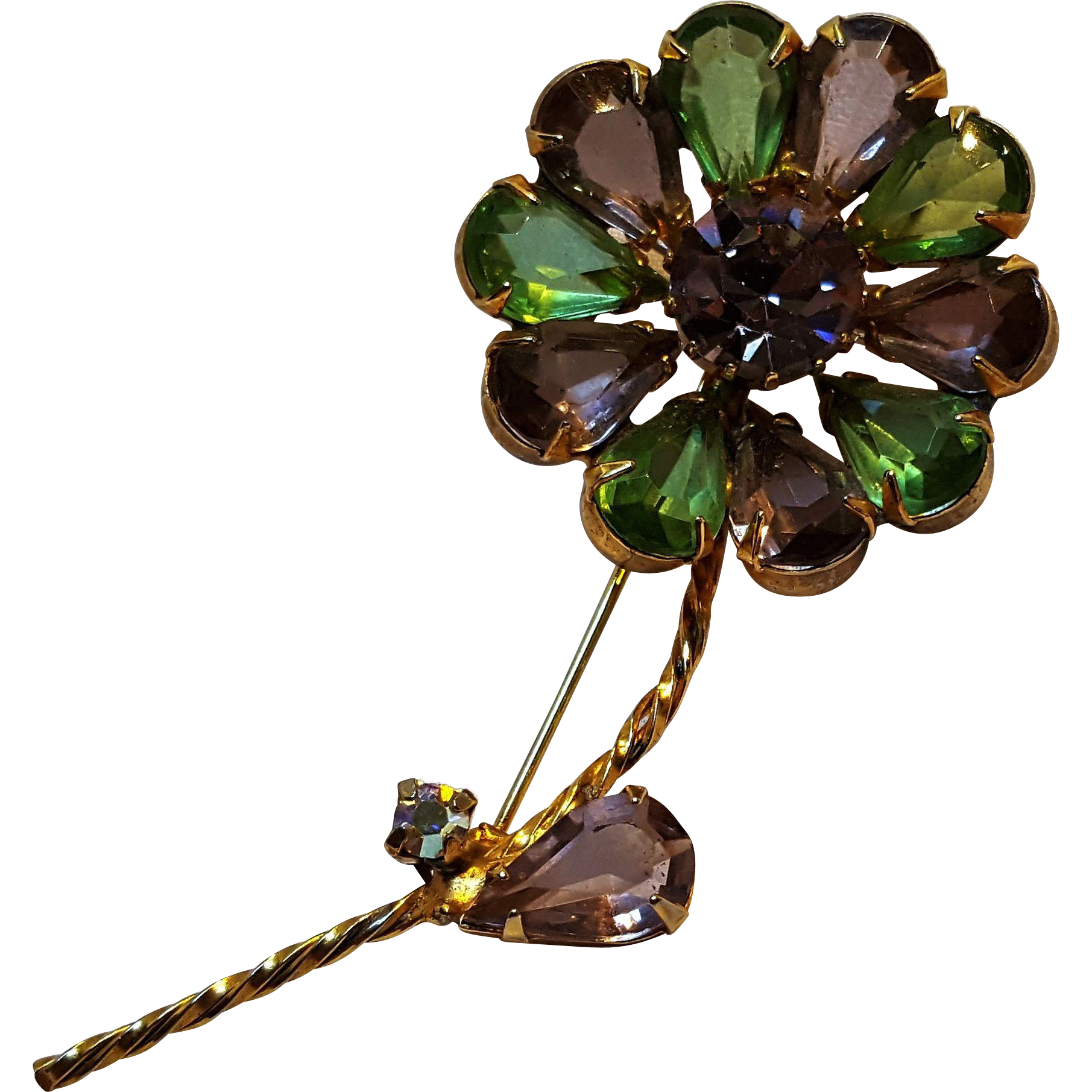 Rhinestone flower pin purple green