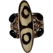 Sajen sterling silver African mud stone and gemstone  ring
