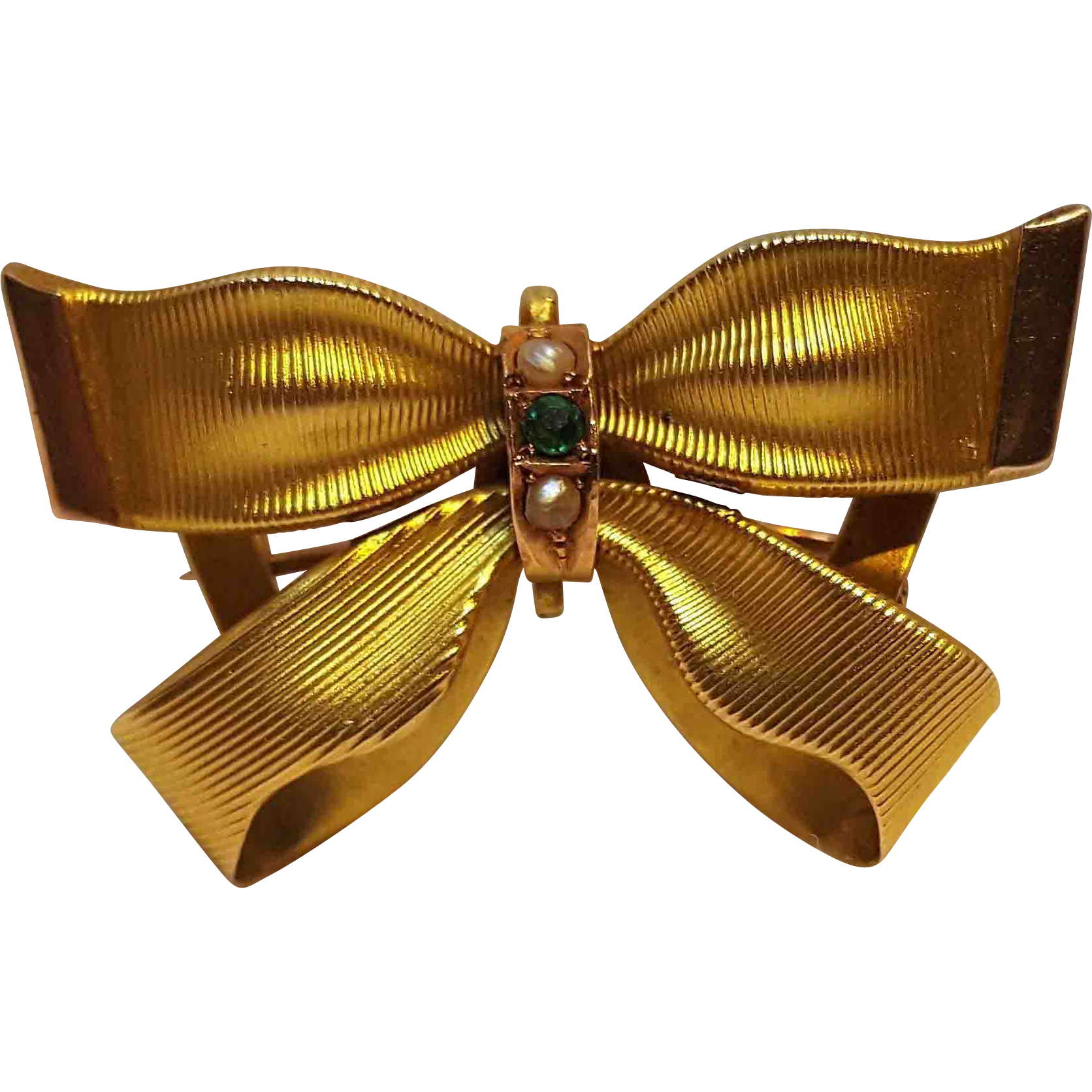 14K Gold emerald seed pearl ladies watch pin bow ribbon WS