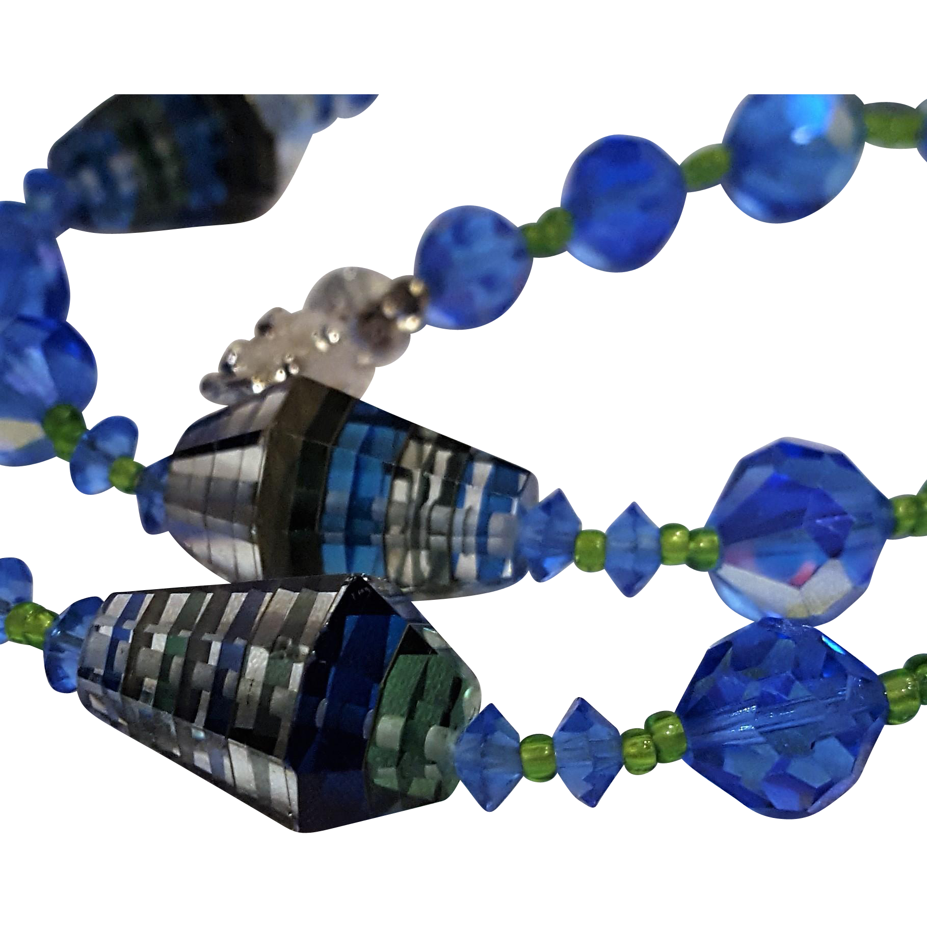 Vendome striped blue conical Swarovski crystal necklace