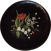 Antique hand painted snuff box paper mache black lacquer
