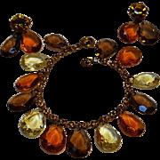 Crystal drop charm rhinestone bracelet earrings set Fall colors