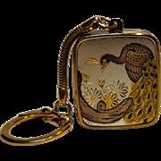 Sankyo Damascene peacock music box key ring Clover