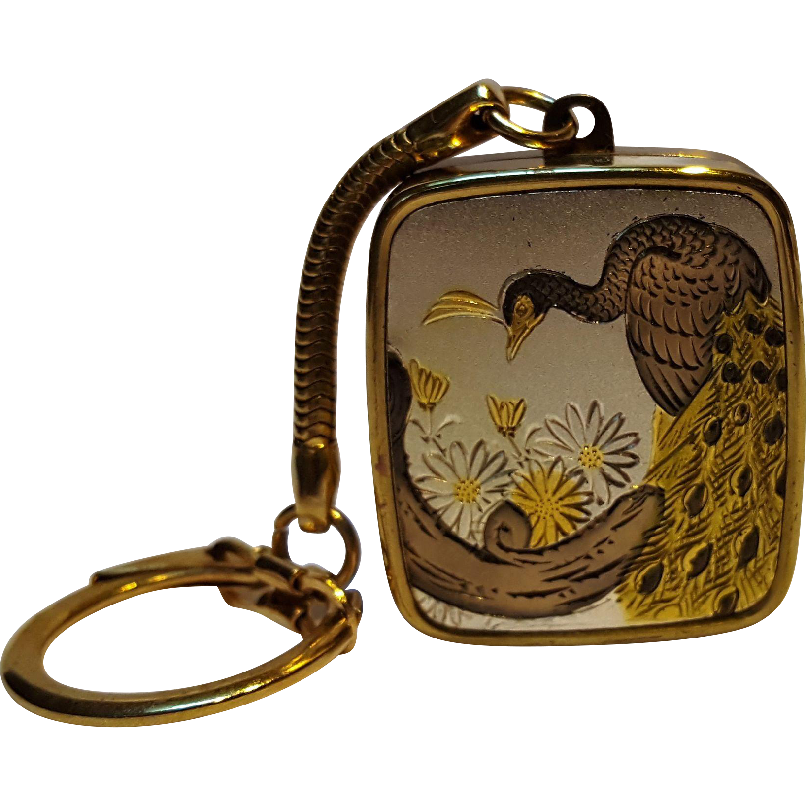Sankyo Damascene peacock music box key ring Clover