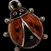 Beau sterling silver enamel ladybug charm