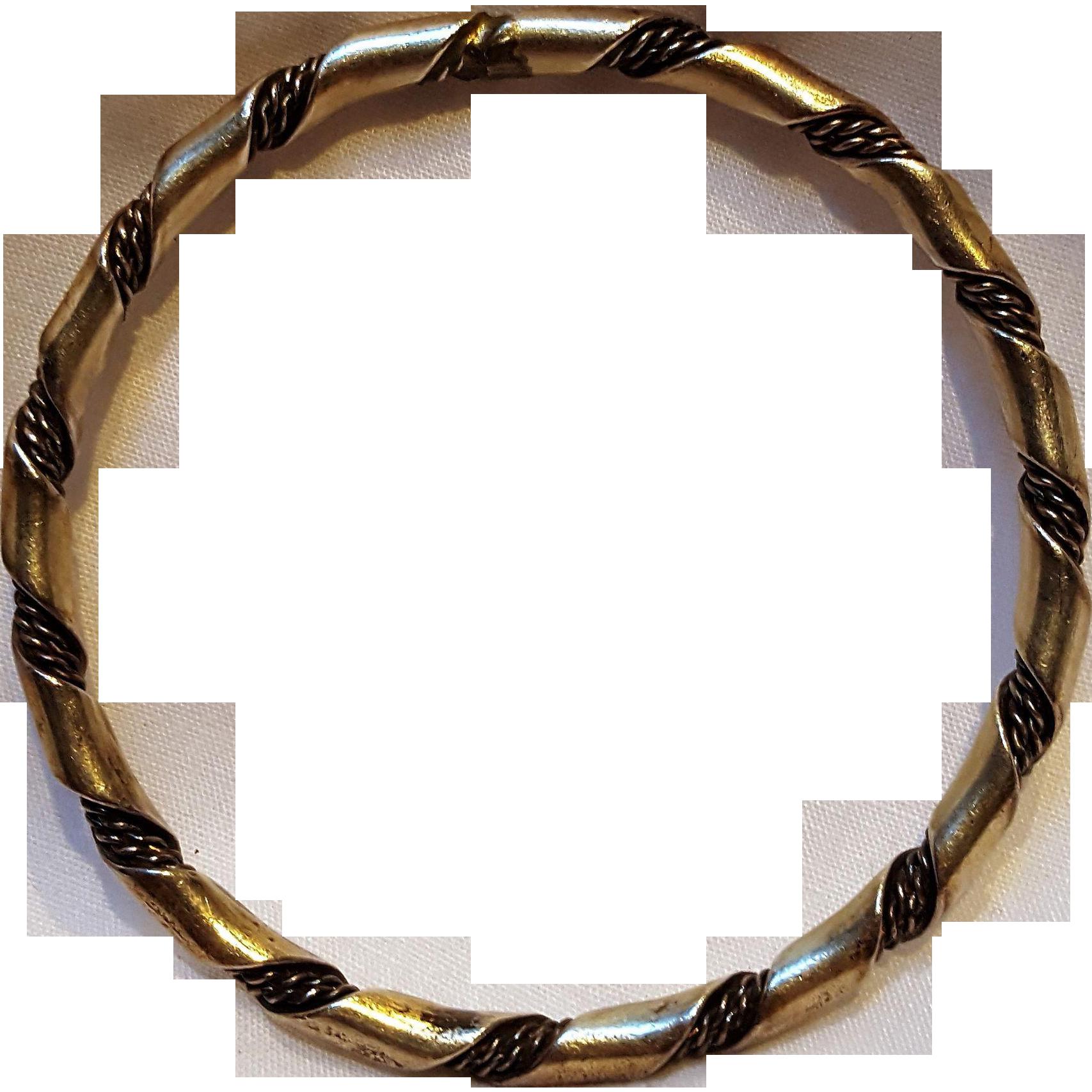 Navajo sterling silver twisted rope ribbon bangle bracelet