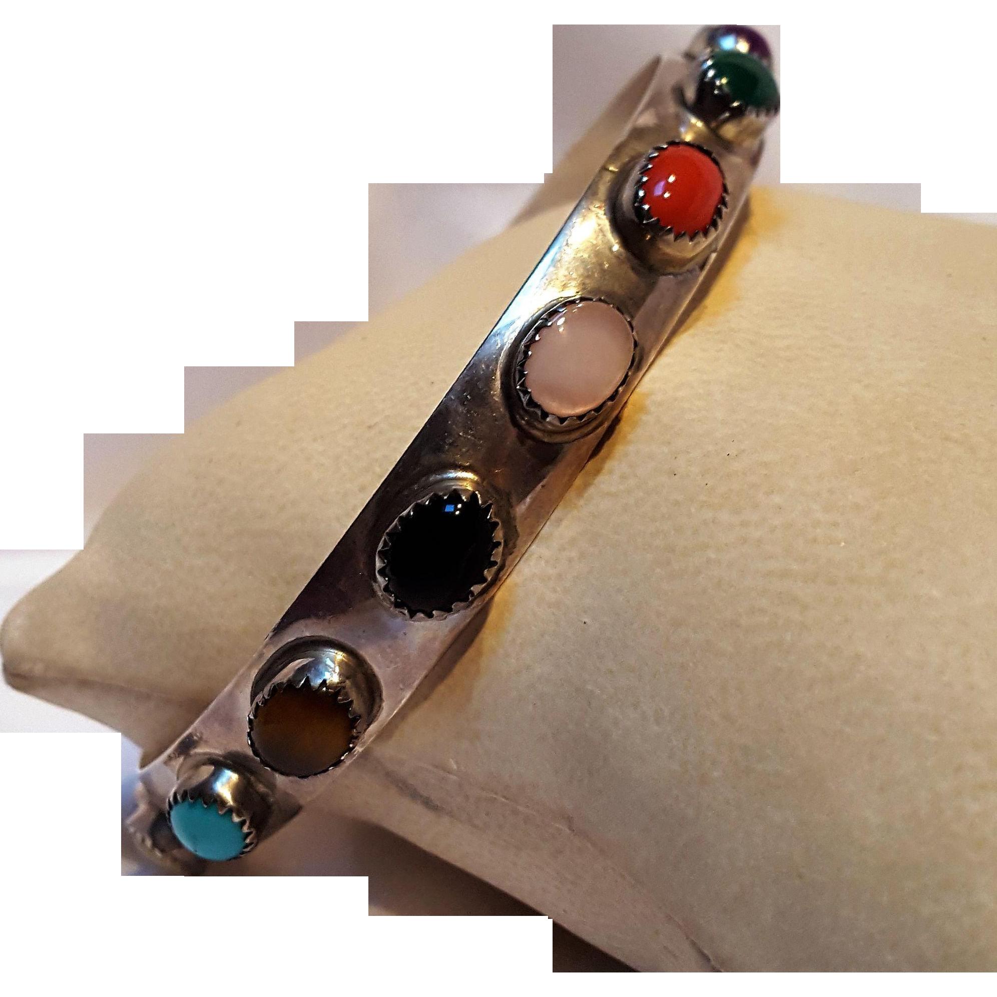 LB Southwest sterling silver multi gemstone bangle bracelet