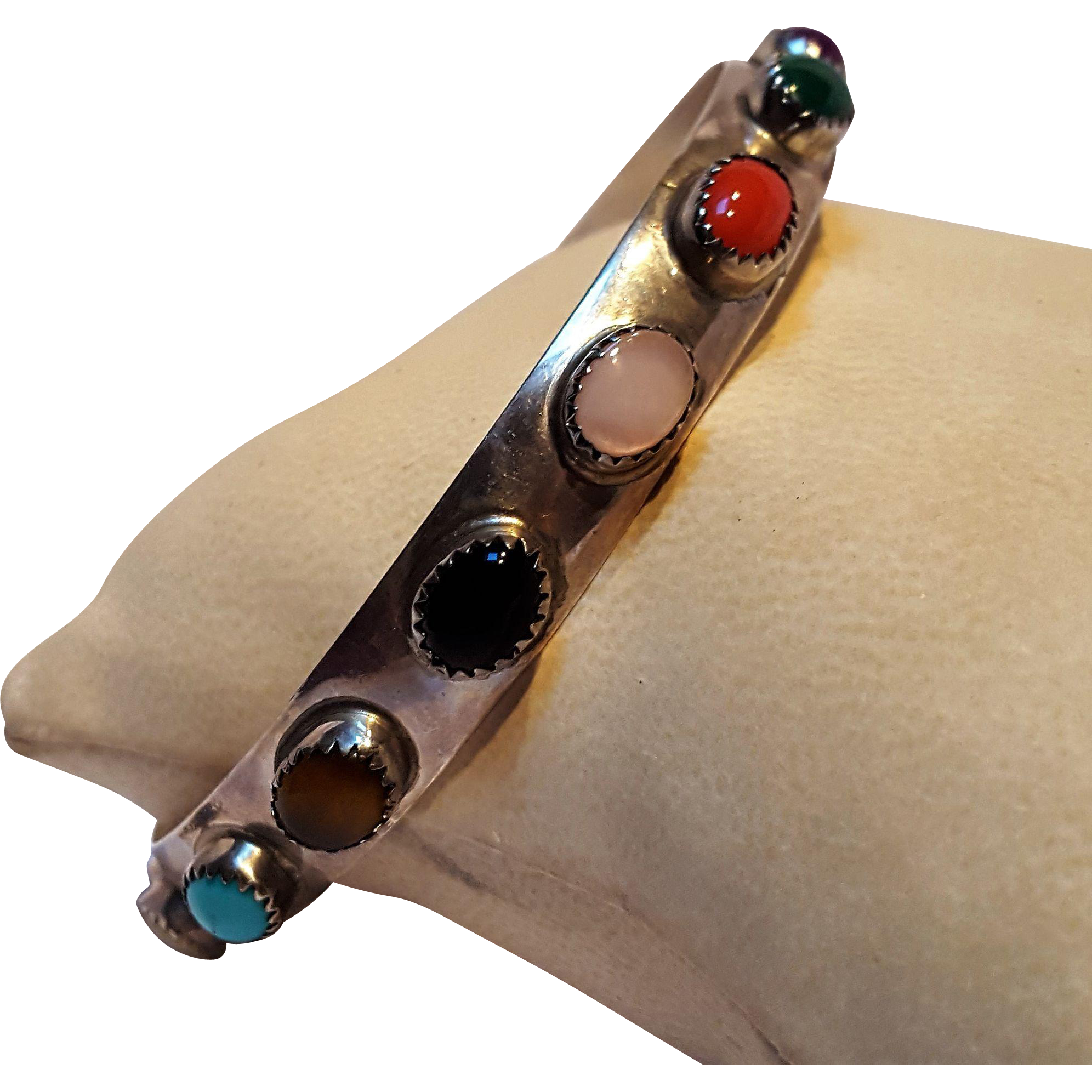 LB Southwest sterling silver multi gemstone bangle bracelet